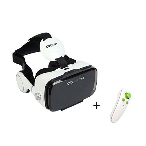 OYOVR Brille 3D Realität Headset Virtual Reality Universalle Brille mit Kopfhörer für 3D Filme und Spiele für Smartphones 4 bis 6 Zoll mit Drahtlose Bluetooth Fernbedienung für 3D-Filme Video und Spiele