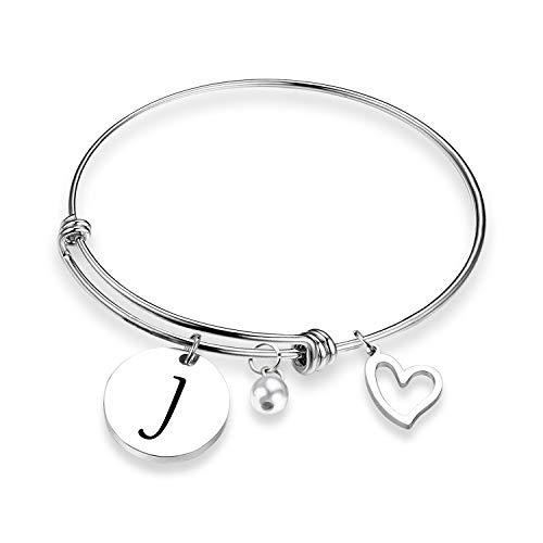 EIGSO Initial Bracelet Letter Bracelet with Heart Charm Memory Bracelet Jewelry Gift for her (BR-J) ...