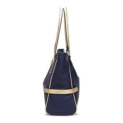 Capacité bandoulière epaule Cuir Pu Womjia Main femmes À Bleu Sac Filles Large Pour porté Wzw1HYHq5