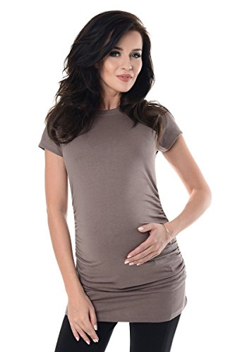 Purpless Maternity 100% Cotton Pregnancy T-shirt 5025 (12 (UK 16, (Brown Maternity Tee)