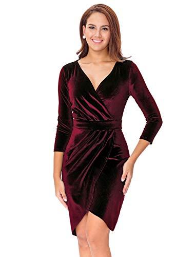 InsNova Women's Long Sleeve Velvet Bodycon Wrap Dress for Wedding Guest (Small, Burgundy-V Neck)
