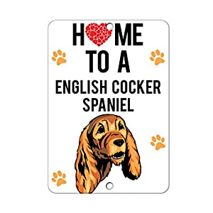 Aluminum Metal Sign Funny Home to English Cocker Spaniel Dog Informative Novelty Wall Art Vertical 8INx12IN 32