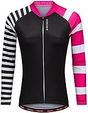 WOSAWE Women Ladies Cycling Jersey Biking Shirt Jacket Long Sleeve Full Zipper Reflective Breathable Quick Dry Shirt