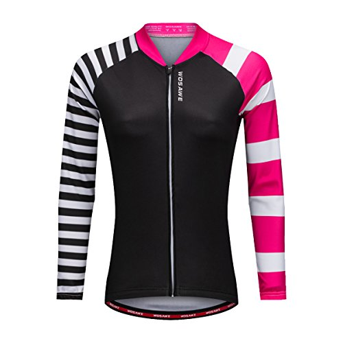 Bill&Candy Women's Breathable Long Sleeve Cycling Jersey Fast Drying Mesh Cycling Cloting Road Mountain Biking Breathable Vest (Large, Pink)