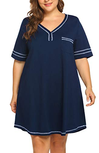 IN'VOLAND Women's Plus Size Nightgown V Neck Cotton Sleepdress Casual Pocket Short Sleeve Sleepwear Navy Blue (Nightgowns Cotton Size Plus)