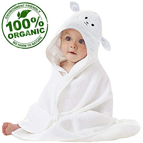 Organic Bamboo Baby Hooded Towel with Bonus Washcloth | Ultra Soft and Super Absorbent Toddler Hooded Bath Towel with Cute Lamb Face Design | Great Infant/Newborn Shower Present for Boy or Girl