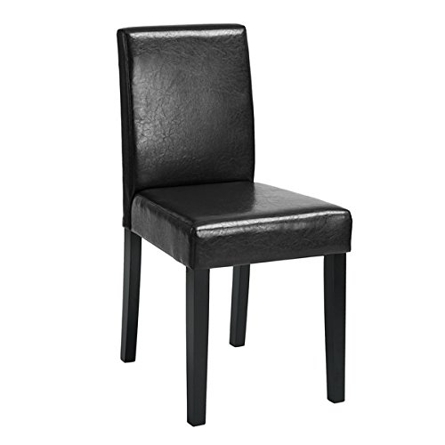 Set of 2 – Black Bonded Leather Side Parson Chair Wood Legs Cushion Seat and Back for Dining Room Accent Modern Chairs