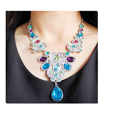 - Women Luxury Necklace Daoroka Pendant Crystal Bib Beaded Collar Necklace Choker Fashion Jewelry for Mom Girlfriend (48CM/18.9, Silver)