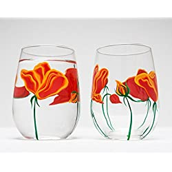 California Poppies Stemless Wine Glasses Set of 2 Hand Painted Glasses, Stemless Glass, Wedding Gift