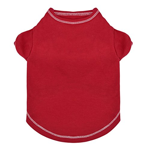 Promotion Pet Clothes Small Pet Dog Clothes JOYFEEL Fashion Cat T-Shirt Apparel Spring Lovely Pure Color Vest Puppy Dress Fly Sleeve Dress (S, Red)