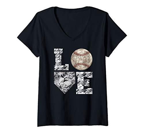 Womens Baseball Distressed Ball  Cute Dad Mom Love Gift V-Neck T-Shirt