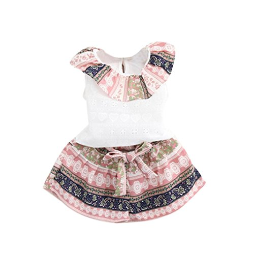 FEITONG 2PCS Toddler Kids Baby Girls Summer Outfit Clothes Lotus Leaf Vest +Shorts Set