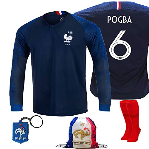 France Soccer Team Pogba Griezmann Mbappe Kid Youth Replica Jersey Kit : Shirt, Short, Socks, Bag, Key, Please Check Size Chart (Pogba Long Sleeve Kit, Size 28 (11-12 Yrs Old Approx.)) ()