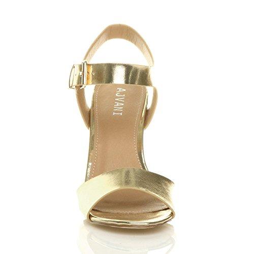 Size Heel Sandals Metallic Ajvani Gold Women High Block qw4aPTa