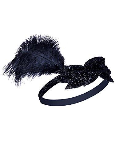 Vijiv (Black And Gold Flapper Costumes Headband)