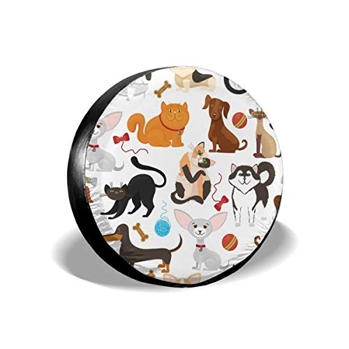 (LAIUE Pet Background Dogs and Cats Classic Accessories Tire Tyre Cover Wheel Covers Universal Fit All Cars Sun Protectors Weatherproof Tire Protectors)