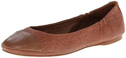 Delman Women Maya Ballet Flat Tan Shrunken Sheep / Nappa