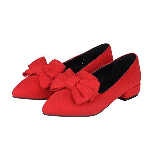 BalaMasa da donna metallo Bowknot pointed-toe imitato in pelle pumps-shoes, Rosso (Red), 35