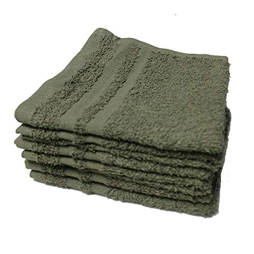 IZO.Bath - 24 Pack 12''x12'' Cotton Fingertip-Hand-Face Towels- 100% Extra Soft Ring Spun Washcloths, Highly Absorbent Cleaning Cloth, Grey