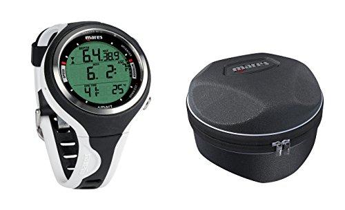 Mares Smart Wrist Dive Computer, Black/White w/ Mares Round Shell Case (Dive Smart Computer Wrist Mares)