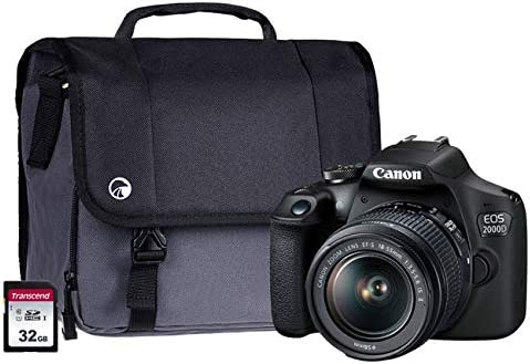 Canon EOS 2000D Black SLR Camera Kit EF-S 18-55mm IS Lens, 32GB SD ...