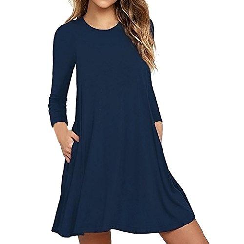AmyDong Ladies Dress Fashion Women's Long Sleeve Pocket Casual Loose T-Shirt Casual Dress Evening Party Dress (Navy, XL) ()