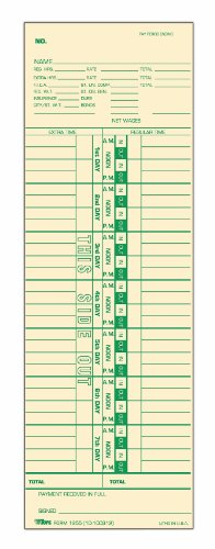 (TOPS Time Cards, Weekly, 1-Sided, Numbered Days, 3-1/2