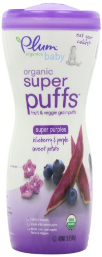 Plum Organics bébé super Puffs pourpres, Blueberry et pourpre patate douce, contenants de 1,5 onces (pack de 8)