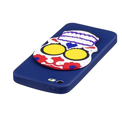 iPhone 5 5S SE Hülle , Leiai 3D Schädel Leicht TPU Weich Tasche Schutzhülle Silikon Etui Handyhülle Stoßdämpfende Schale Fall Case Shell für Apple iPhone 5 5S SE