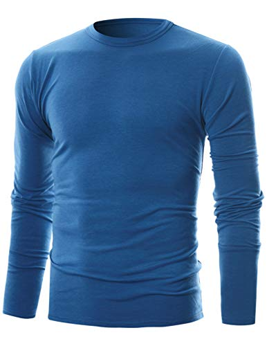 - GIVON Mens Slim Fit Soft Cotton Long Sleeve Lightweight Thermal Crew Neck T-Shirt/DCP033-BLUE-M