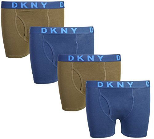 Lucky Boxers Boxer Shorts - DKNY Boy\'s (4 Pack) Boxer Brief Underwear, More Colors Available (Large/14-16, Navy/Olive)'