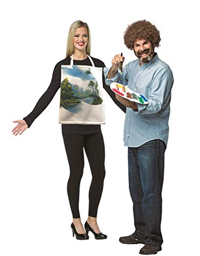 Rasta Imposta Bob Ross Kit & Painted Canvas Couples Costume