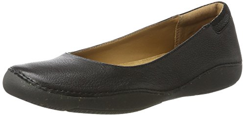Clarks Sun Black Ballet Leather Autumn Women's Flats Black TgwqxTarp