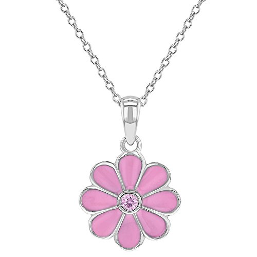 925 Sterling Silver Pink CZ Enamel Daisy Flower Necklace Pendant for Girls 16
