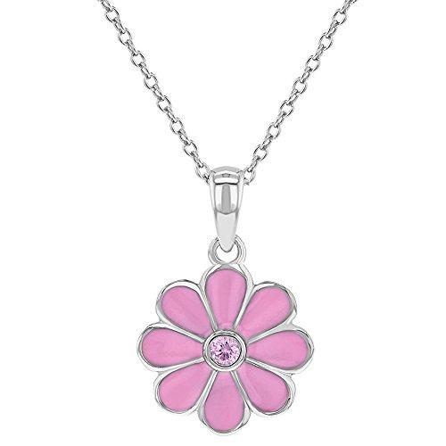 925 Sterling Silver Pink CZ Enamel Daisy Flower Necklace Pendant for Girls - Flower Enamel Necklace Pendant