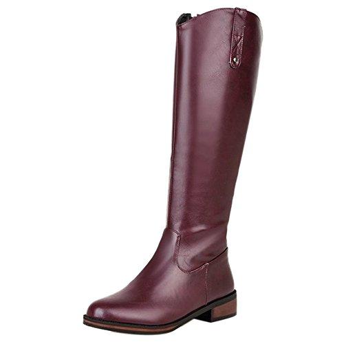 RAZAMAZA Women Simple Boots Zipper Purple