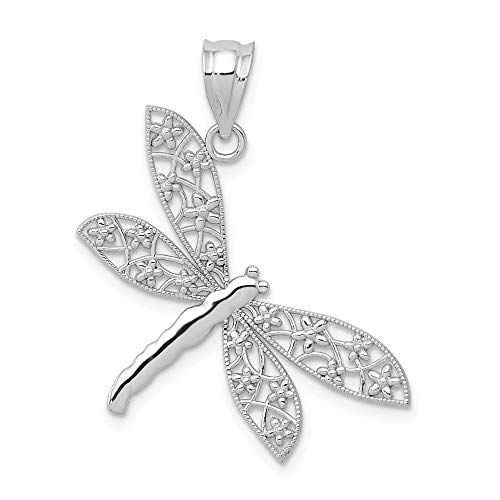 14k White Gold Dragonfly Pendant Charm Necklace Insect Fine Jewelry Gifts For Women For Her 14k Gold Dragonfly Charm