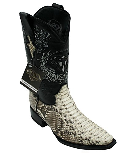 (Men's Snip Toe Genuine Python Skin Leather Cowboy Square Toe Western Boots_Natural_10.5)