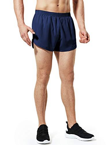 TSLA Men's 3 inches Quick-Dry Mesh Liner Pace Running Shorts Jogging Marathon w Pocket, Paceshorts 3inch(mbh23) - Navy, Medium