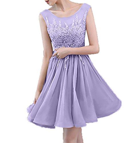 Abendkleider Spitze Cocktailkleider Mini Promkleider Neu Lilac Attraktive Charmant Hundkragen Damen Partykleider 2018 qOnZXF0