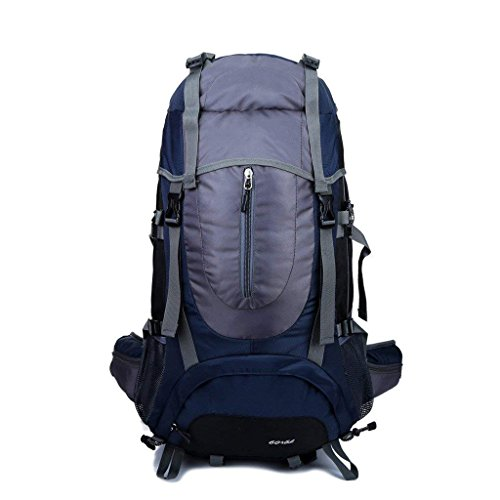 ZOUQILAI Mountaineering Bag 65L Shoulder Waterproof Men And Women Outdoor Backpack Hiking Camping Backpack Bag Dark Blue 60+5L by ZOUQILAI