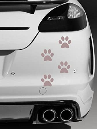 4 x dog paw prints quality vinyl car stickers decals silver