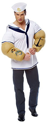 Sailor Shirt Adult Costume With Detachable Arms