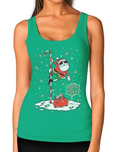 Santa North Pole Funny Ugly Christmas Women Tank Top Medium Green
