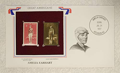 Amelia Earhart - Great Americans - Postage Stamp (1963) & 22kt Gold Replica Stamp plus Info Card - Postal Commemorative Society, 2001 - Female Pilot, First Woman to Fly across the Atlantic, Aviation, Aviator