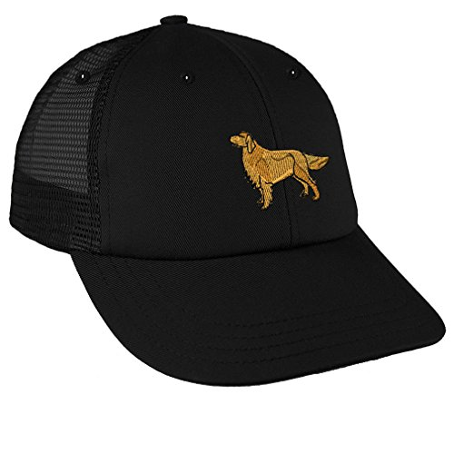 Golden Retriever Dog #2 Embroidery Low Crown Mesh Golf Snapback Hat Black