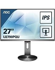 AOC U2790PQU Monitor, 68 cm (27 inch), HDMI, Displayport, 3840 x 2160, 60 Hz, 5 ms Reactietijd, USB-Hub, Grijs