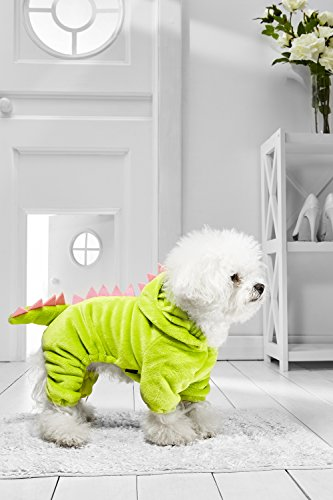 Dino Small Dog Halloween Costume For Bichon Frise Dachshund Mini Schnauzer Poodle (Small Size, lime, (Fox And The Hound Halloween Costumes)