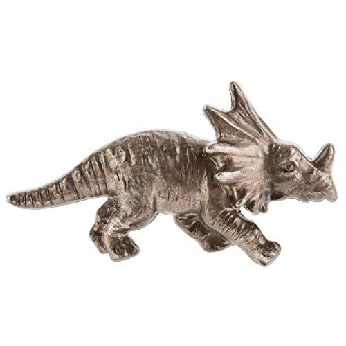 (Silver Triceratops Dinosaur Metal Drawer Knob)