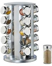 Relaxdays 10026458 Kruidencarrousel met 20 kruidenpotjes, 360 graden draaibaar, kruidenpotjes om te strooien, 34,5 cm hoog, roestvrij staal, zilver